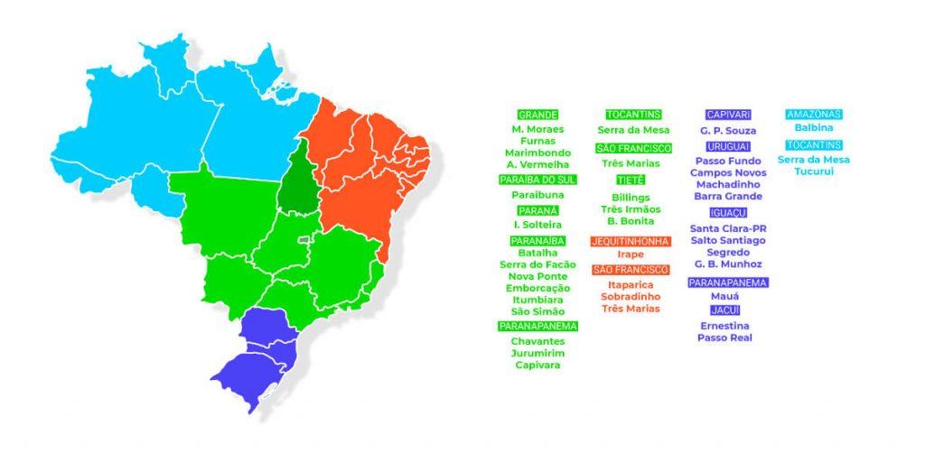Principais bacias hidrográficas e seus reservatórios por subsistemas